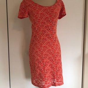 Velvet Orange floral lace dress